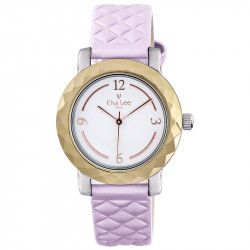 Baby pink padded leather strap watch and golden bezel by Elsa Lee