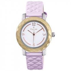 Montre Mosaïque Elsa Lee Paris, cadran blanc, bracelet matelassé rose, boitier couleur or et chiffres arabes