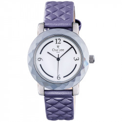 Elsa Lee Paris new 2017 watch, with white dial, purple padded bracelet and arabic numerals