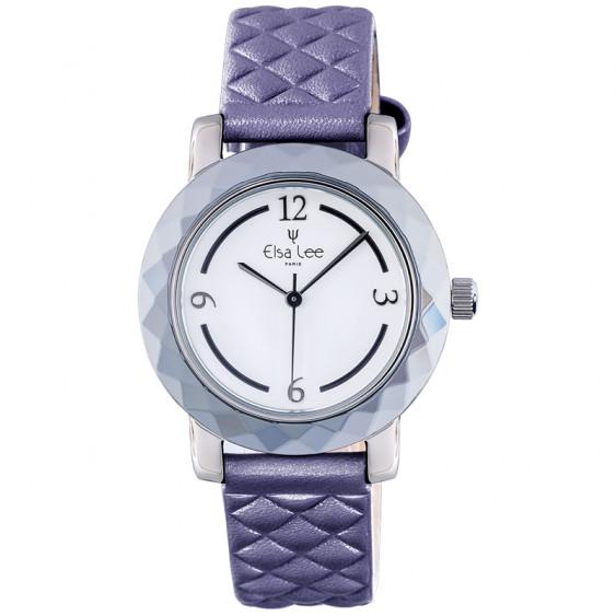 Montre Mosaïque Elsa Lee Paris, cadran blanc, bracelet matelassé violet, boitier couleur argent et chiffres arabes