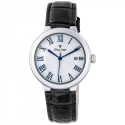 women black leather strap watch and roman numerals and silver bezel by Elsa Lee Paris