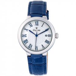 Elsa Lee Paris watch, new 2017 collection, white dial, Roman numerals and patent leather blue strap