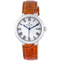 Elsa Lee Paris watch, new 2017 collection, white dial, Roman numerals and patent leather orange strap