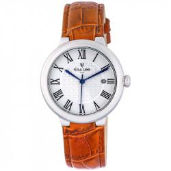 Montre Royale Elsa Lee Paris, cadran argent, bracelet en cuir orange et chiffres romains
