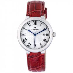 Montre Royale Elsa Lee Paris, cadran argent, bracelet en cuir rouge et chiffres romains