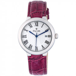 Elsa Lee Paris watch, new 2017 collection, white dial, Roman numerals and patent leather pink strap
