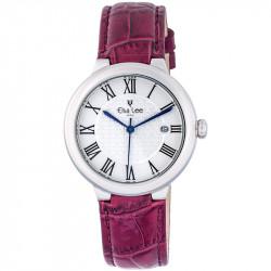 Montre Royale Elsa Lee Paris, cadran argent, bracelet en cuir violet et chiffres romains