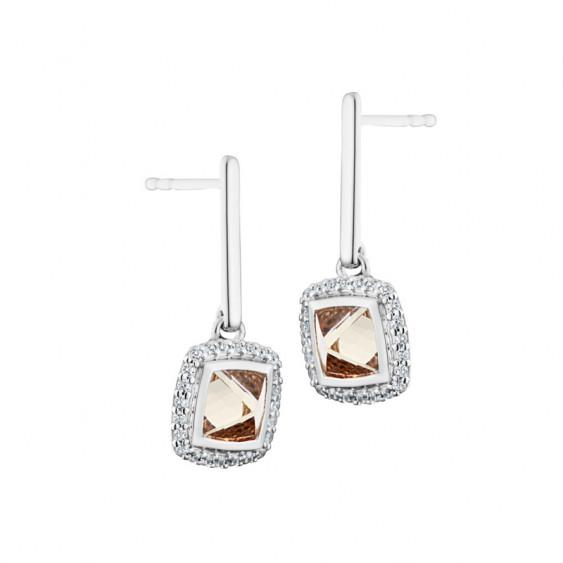 Boucles d'oreilles Elsa Lee Paris, pendantes en argent, avec oxydes de Zirconium champagne entourés de brillants et tiges rigide