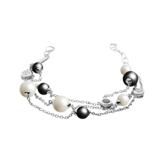 Elsa Lee Paris 3 chain sterling silver bracelet with grey and white pearls and clear and black Cubic Zirconia