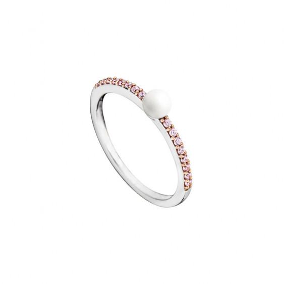 Bague Elsa Lee Paris, collection La Vie en Rose, en argent 925 avec perle blanche et oxydes de Zirconium roses