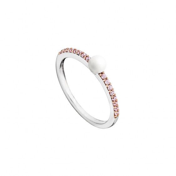 Elsa Lee Paris sterling silver ring, with white pearl centerpiece and 16 pink cubic Zirconia