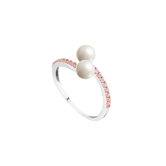 Elsa Lee Paris sterling silver ring, with two white pearls centerpiece and pink Cubic Zirconia lines