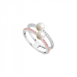 Sterling silver ring from Elsa Lee Paris pearls collection, with 2 white pearls and clear and pink cubic Zirconia lines