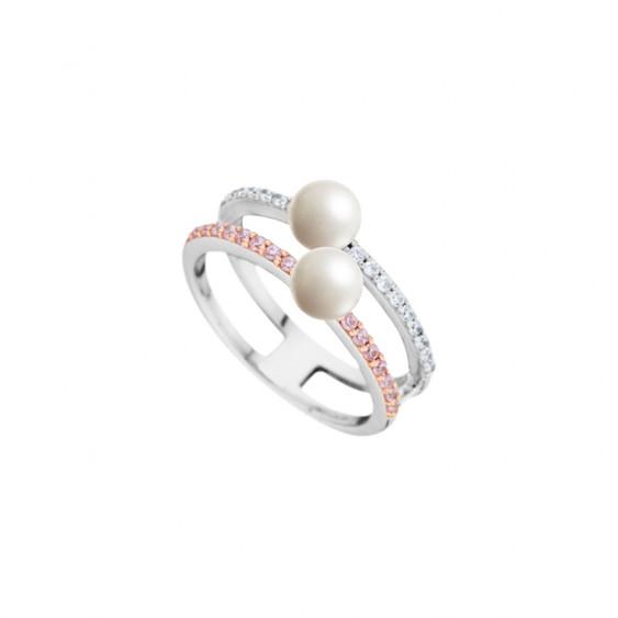 Bague Elsa Lee Paris, collection La Vie en Rose, argent 925, oxydes de Zirconium roses et incolores et deux perles blanches