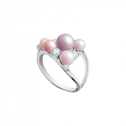 Elsa Lee Paris silver ring, triangle shape made with pink pearls and Cubic Zirconia