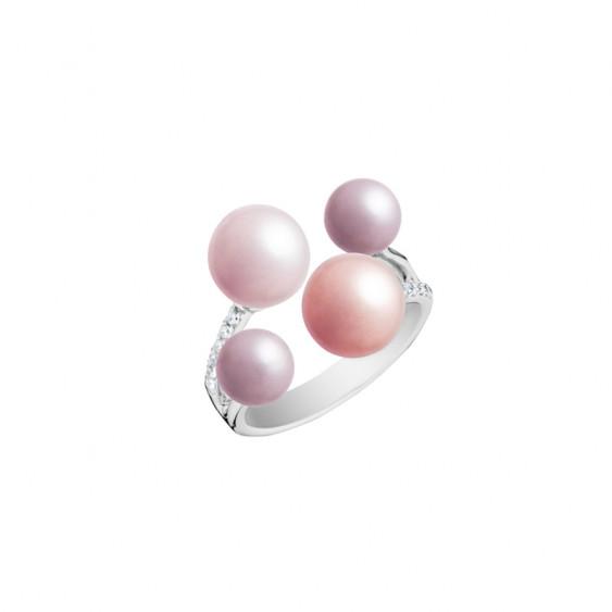 Bague Elsa Lee Paris de la collection La Vie en Rose, en argent 925, avec 4 perles dans les tons de roses et oxydes de Zirconium
