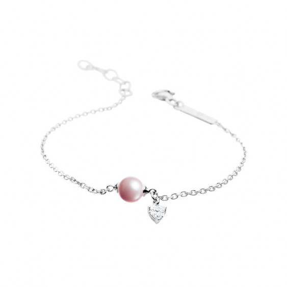 Bracelet Elsa Lee Paris, collection La Vie en Rose, en argent, perle rose et oxyde de Zirconium pendant
