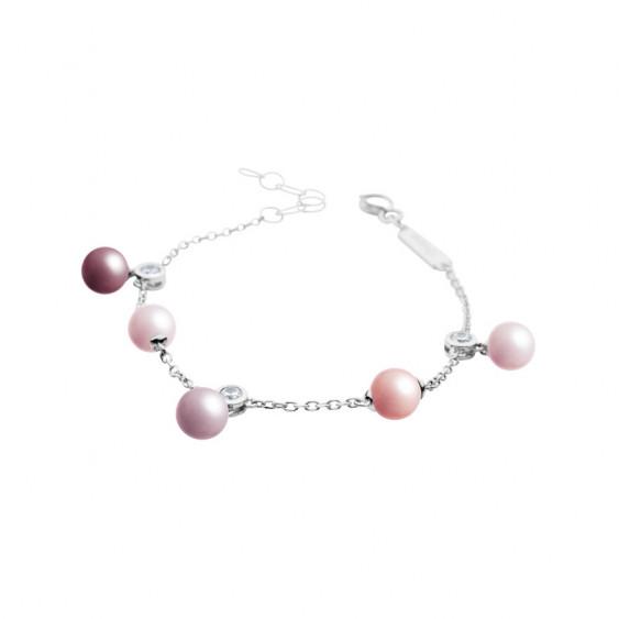 Bracelet Elsa Lee Paris, collection La Vie en Rose, en argent massif, oxydes de Zirconium et perles de différentes couleurs
