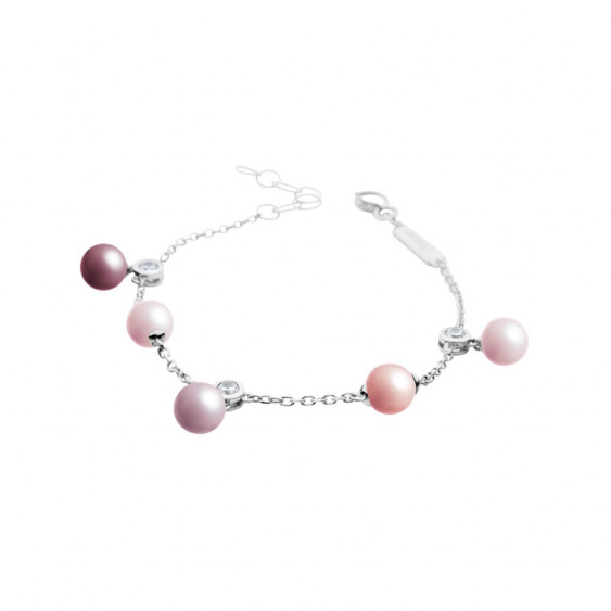 Elsa Lee Paris sterling silver chain bracelet, featuring different coloured pearls and Cubic Zirconia from Life in Pink collecti