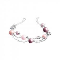 Bracelet Elsa Lee Paris en argent, collection La Vie en Rose, avec perles de différentes couleurs, brillants roses et 3 chaines
