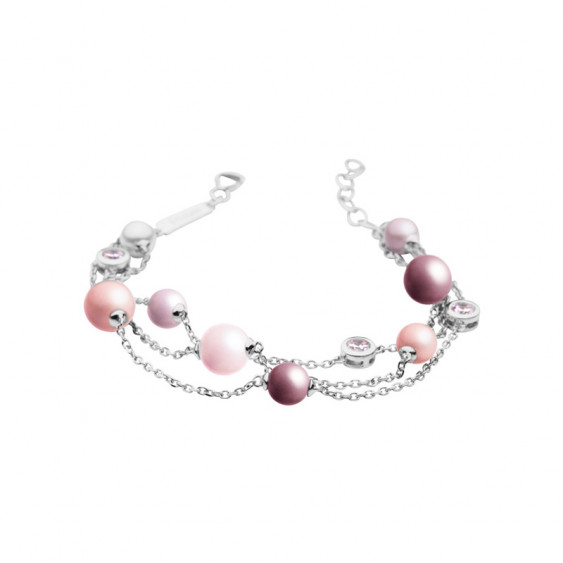 Elsa Lee Paris sterling silver bracelet, 3 chains with different colours for the pearls and pink Cubic Zirconia