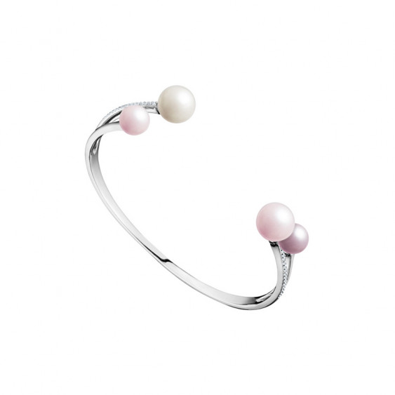 Elsa Lee Paris sterling silver bangle, with pearls and clear Cubic Zirconia