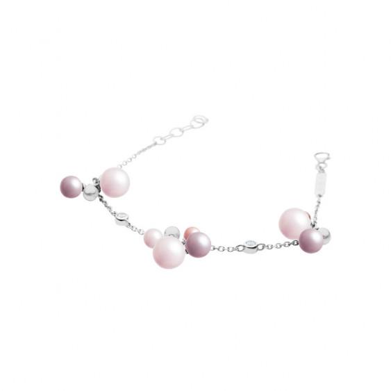 Bracelet La Vie en Rose Elsa Lee Paris, en argent avec perles de différentes couleurs et brillants