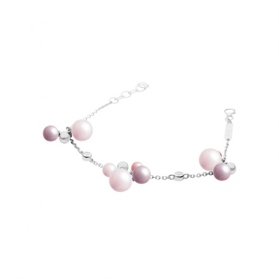 Elsa Lee Paris silver chain bracelet, with pink pearls and clear Cubic Zirconia