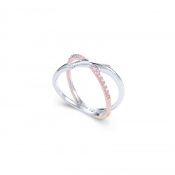 Elsa Lee Paris sterling silver ring from our Fantasy Garden collection, branch shaped with pink Zirconia