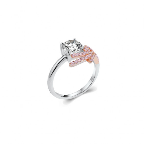 Bague Elsa Lee, collection Fantasy Garden, en argent 925, un oxyde de ZIrconium et branche rose couvertes de brillants roses