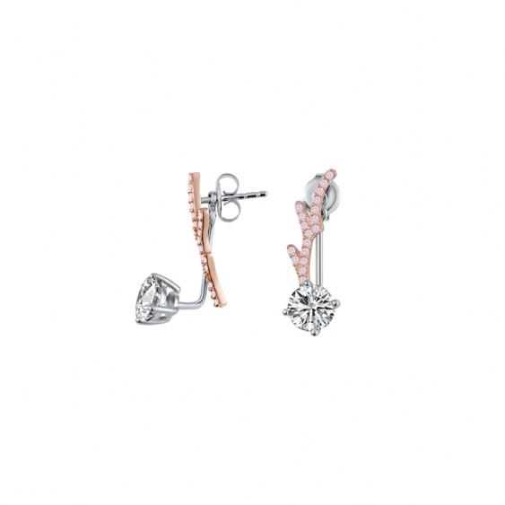 Boucles d'oreilles pendantes Elsa Lee Fantasy Garden, un oxyde de Zirconium et une branche dorée rose avec oxydes roses