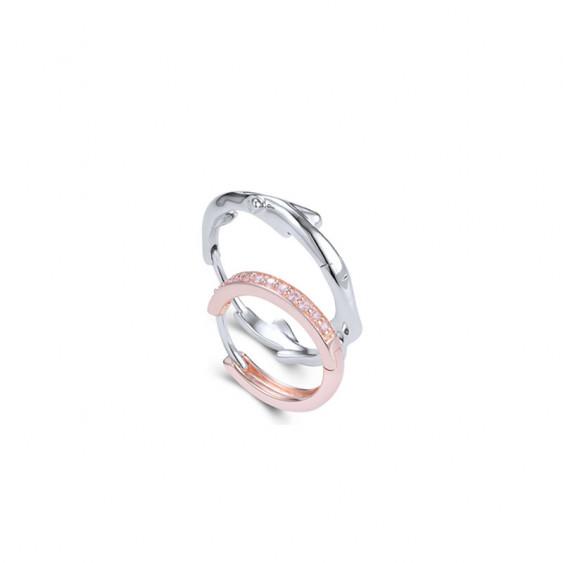 Boucles d'oreilles assorties Elsa Lee Fantasy Garden, créole rose avec oxyde rose, créole argent motif branche