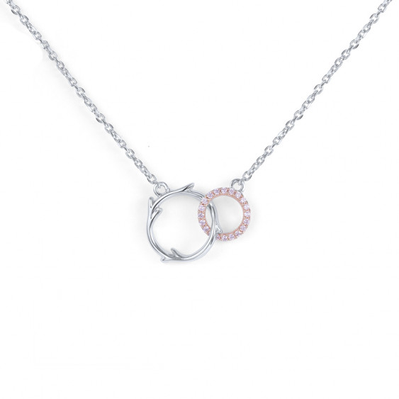 Elsa Lee Paris silver necklace from our Fantasy Garden collection, two branch shaped circles covered with pink Cubic Zirconia