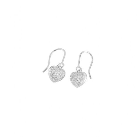 Boucles d'oreilles pendantes Be my Valentine, en argent motifs coeurs pavés d'oxydes de Zirconium