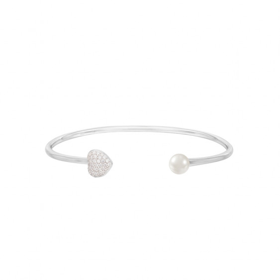 Be my Valentine sterling silver bracelet from Elsa Lee Paris, with heart shape, Cubic Zirconia and white pearls