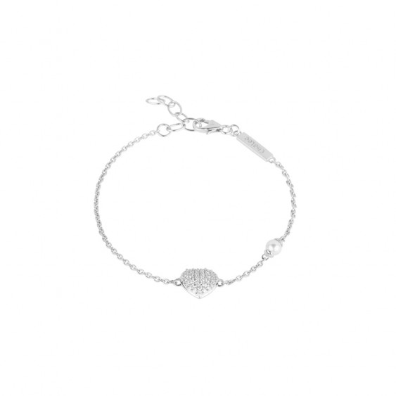 Be my Valentine bracelet from Elsa Lee Paris, silver chain with heart shape incrusted in Cubic Zirconia and white pearl