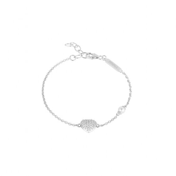 Bracelet Be my Valentine Elsa Lee, chaîne en argent motif coeur pavé d'oxydes de Zirconium et perle blanche