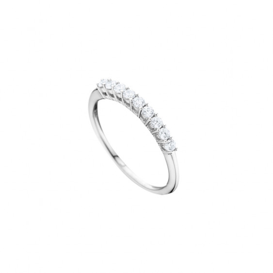 Elsa Lee Paris sterling silver wedding ring for women with 9 clear Cubic Zirconia in the center of the ring