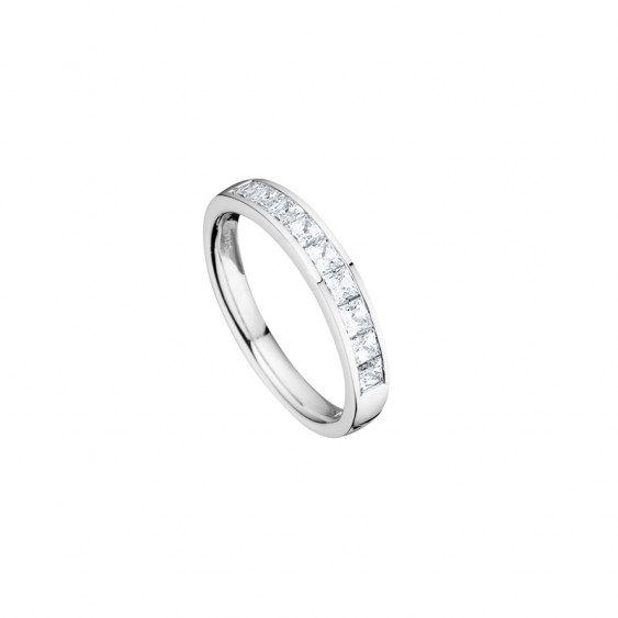 Elsa Lee Paris fine 925 sterling silver wedding ring for women, with 9 close set Cubic Zirconia