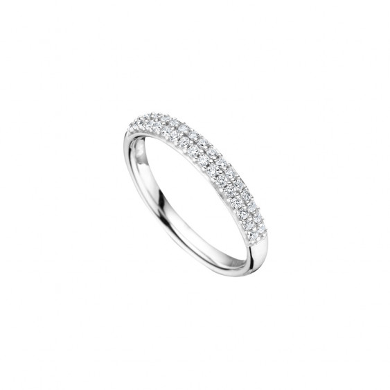 Elsa Lee Paris sterling silver women wedding ring, with two rows of clear Cubic Zirconia on the top of it