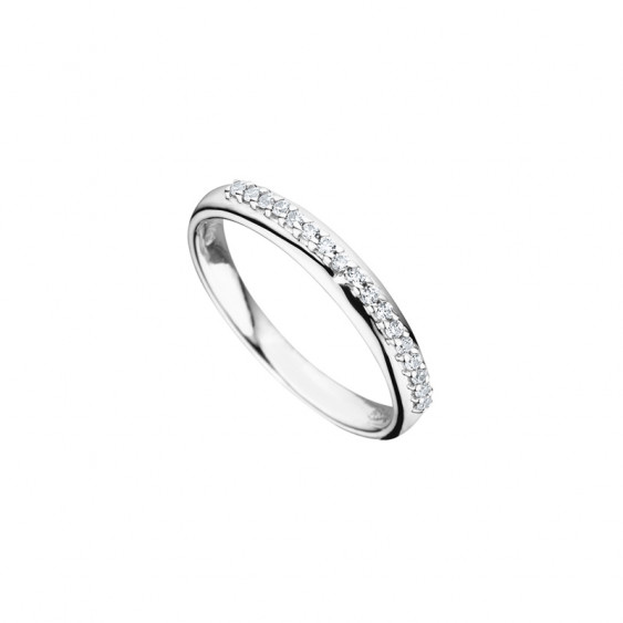 Elsa Lee Paris fine 925 sterling silver wedding ring for women, one row of perfectly clear Cubic Zirconia