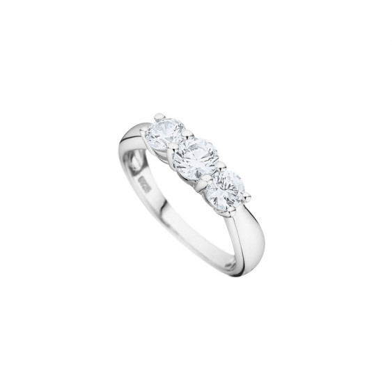 Elsa Lee Paris fine 925 sterling silver wedding ring for women with 3 princess-shaped Cubic Zirconia