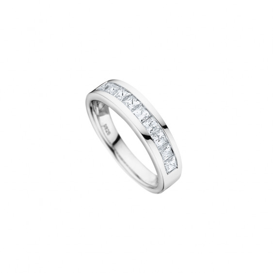 Elsa Lee Paris sterling silver wedding ring for women, close set Cubic Zirconia