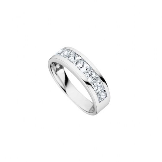 Elsa Lee Paris women's fine 925 silver wedding ring with close set Cubic Zirconia