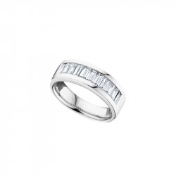 Elsa Lee Paris sterling silver ring for women, made with close set baguette Cubic Zirconia