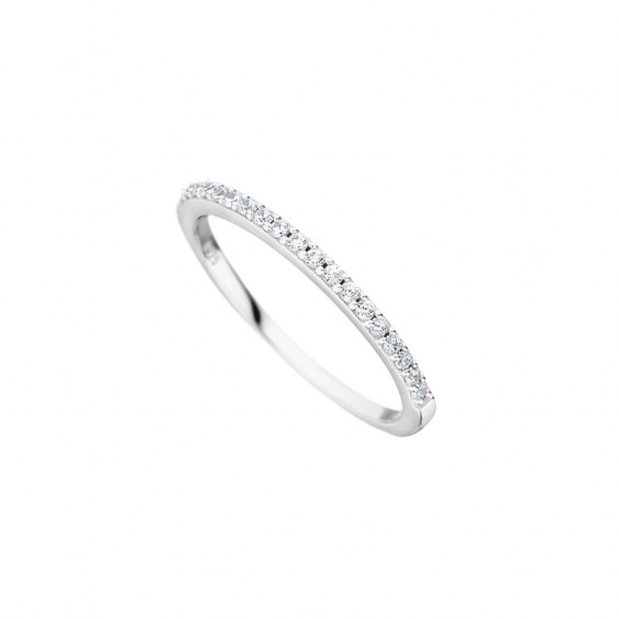 Simple wedding ring for women, from our Elsa Lee collection, crafted in silver with claws set Cubic Zirconia