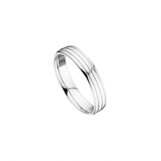 Men wedding ring from Elsa Lee Paris, crafted in sterling silver, geometric lines