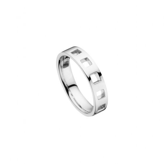 Alliance pour Hommes Elsa Lee Paris modèle en argent 925 avec 5 carrés taillés directement dans l'anneau