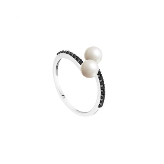 Bague Duo Elsa Lee Paris en argent 925, avec deux perles blanches 5mm et oxydes de ZIrconium noirs sur chaque branche