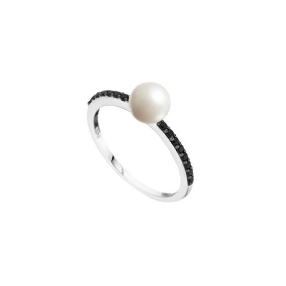 Bague Black & White Elsa Lee Paris en argent 925, perle blanche 6mm avec 16 oxydes de Zirconium noirs sur les branches